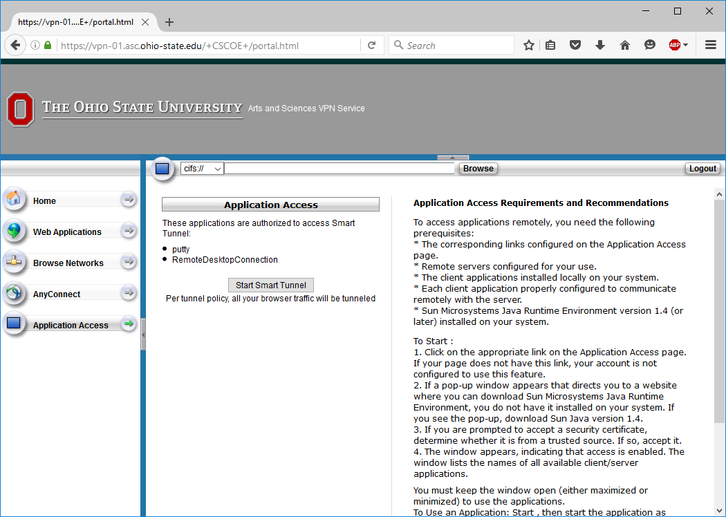 application access page